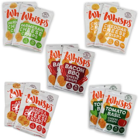 Cello Whisps 10 Pack Assortment, Low Carb Snacks, Keto Snacks, (2) Parmesan, (2) Cheddar, (2) Asiago Pepperjack, (2) BBQ Bacon, (2) Tomato Basil
