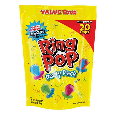 Ring Pop Candy Variety Party Pack, Assorted Flavor Lollipop Suckers, 20