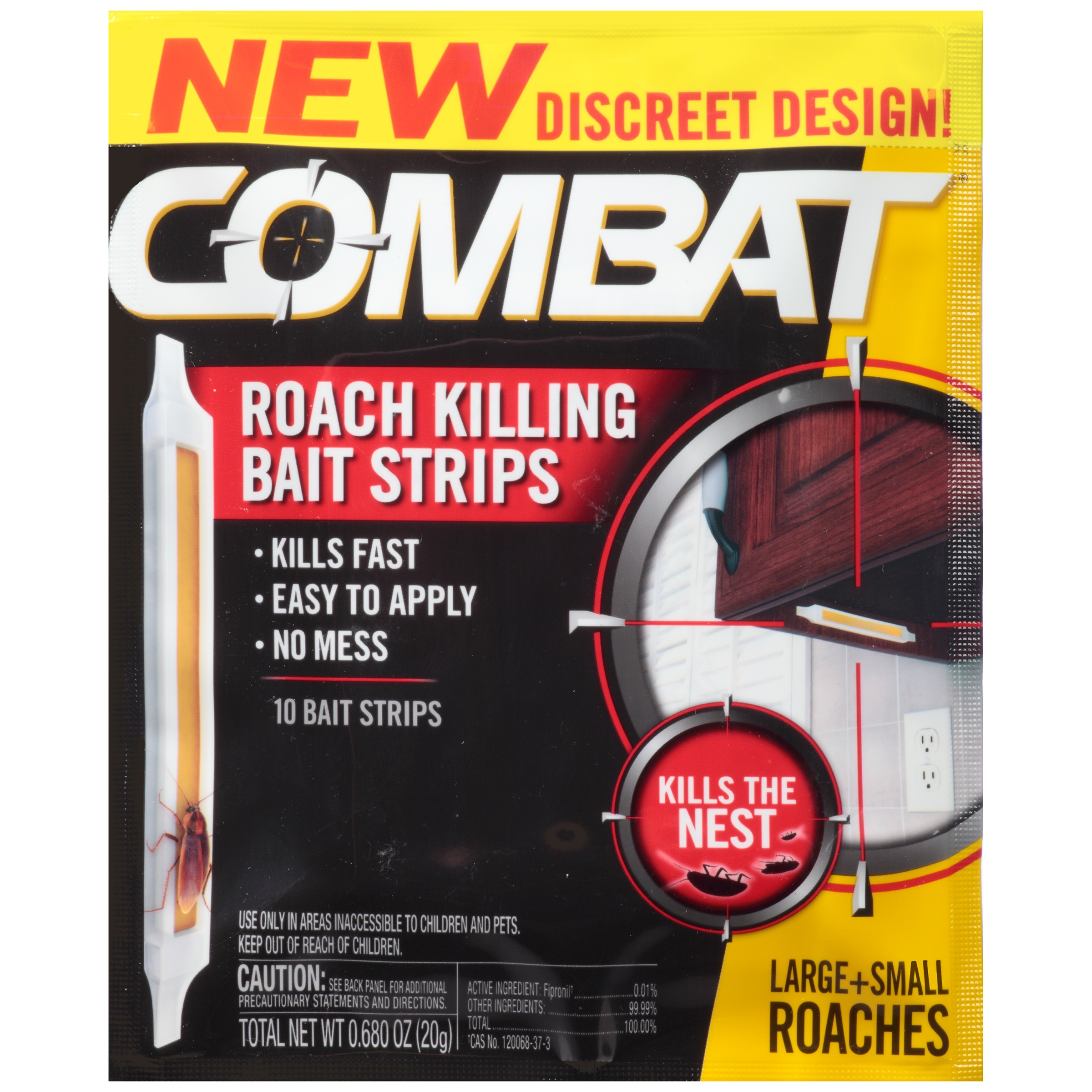 Combat® Large + Small Roaches Roach Killing Bait Strips 10 ct Pack ...