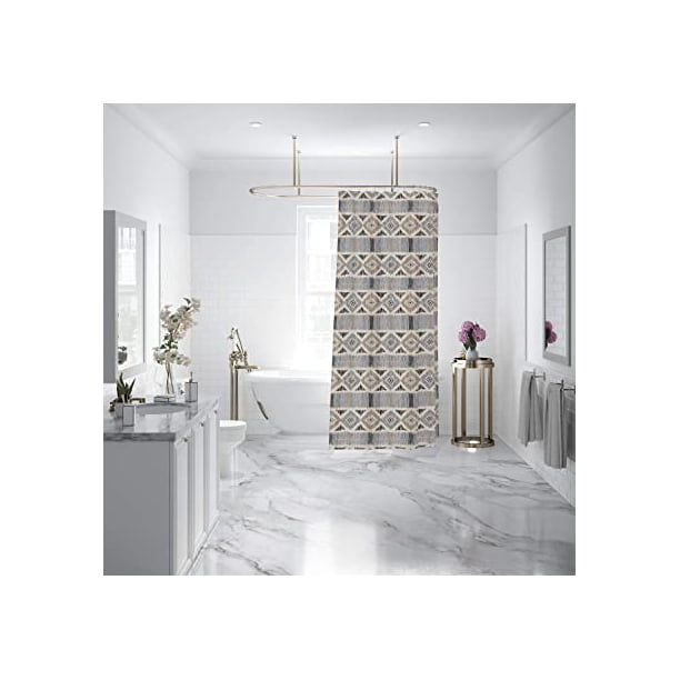 levtex home santa fe shower curtain with grommets one shower curtain panel 72 inch length 72 inch width ikat stripe charcoal grey taupe