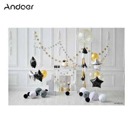 Andoer 2.1 * 1.5m/7 * 5ft First Birthday Backdrop Photography Background Baby Boy Kids Photo Studio Pros (Photoflex First Studio)