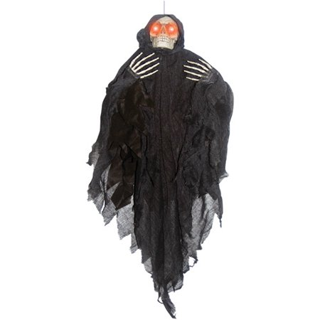 4' Hanging Light-up Black Reaper Halloween - Halloween Decorations Discount