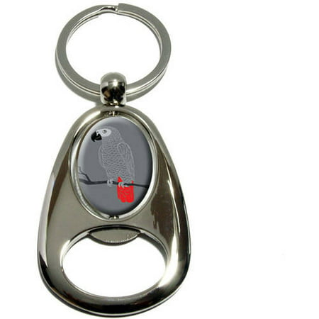Chrome Small Bird (African Grey, Bird Parrot Pet, Chrome Plated Metal Spinning Oval Design Bottle Opener Keychain Key Ring)