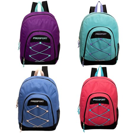 17' Classic Bungee Wholesale Backpack in 4 Assorted Colors with Mesh Water Bottle Pocket- Bulk Case of 24 - Backpacks Cheap Bulk