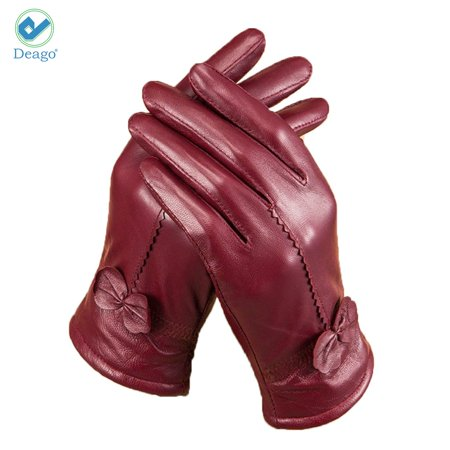 Deago Women's Classic Gloves Driving Winter Warm Nappa Leather Gloves (Fleece or Cashmere Lining) Classic Leather Show Gloves