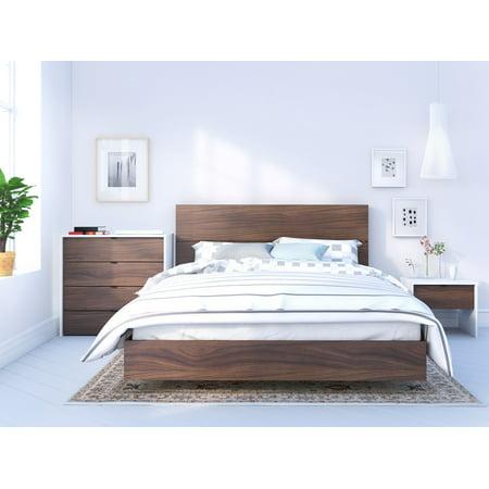 Nexera Identi-T 4 Piece Bedroom Set, White & Walnut