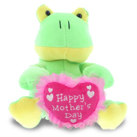 """DolliBu Happy Mother's Day Super Soft Plush Sitting Frog Figure - Cute Stuffed Animal with Pink Heart Message for Best Mommy, Grandma, Wife, Daughter - Cute Wild Life Plush Toy Gift - 6"""" Inches"""