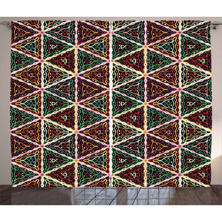 African Curtains 2 Panels Set, Grunge Triangle Design Colorful Geometric Mosaic Traditional Batik Pattern Retro, Window Drapes for Living Room Bedroom, 108W X 108L Inches, Multicolor, by - Traditional Batik