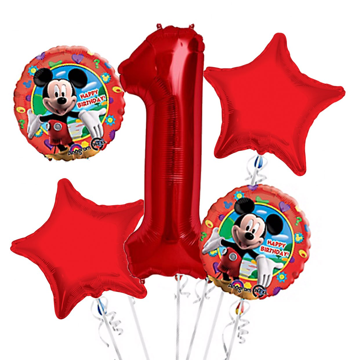 Mickey Mouse Balloon Bouquet 1st Birthday 5 pcs - Party Supplies, 1 Giant Number 1 Balloon, 34in By Viva Party