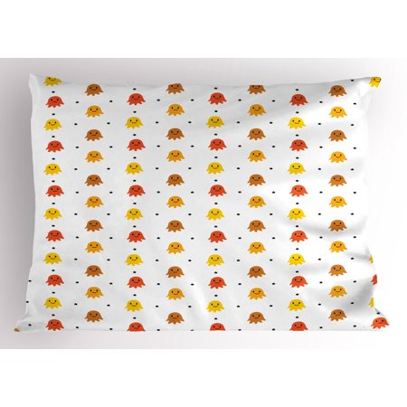 Ghost Pillow Sham, Smiling Ghost Characters in Earthy Tones Among Little Black Stars Childish Design, Decorative Standard Size Printed Pillowcase, 26 X 20 Inches, Multicolor, by Ambesonne - Ghost Characters