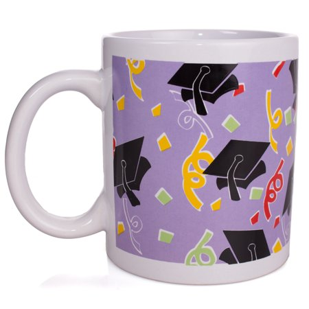 Grad Caps Confetti Graduation Present 12oz Mug in Gift Box, Purple Black](Religious Graduation Gifts)