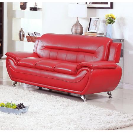 Norton Red Faux Leather Modern Living Room Sofa - Walmart.com