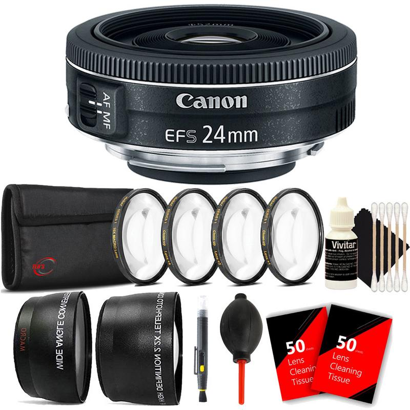 Canon EF-S 24mm f/2.8 STM Wide Angle Lens Top Accessory Kit for