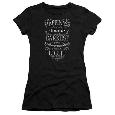 Juniors Black Short - Harry Potter Happiness Short Sleeve Junior Sheer Black