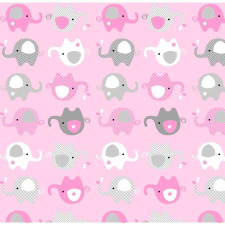 Elephant toss pink grey anti pill polyester fleece by the for Pink and grey nursery fabric