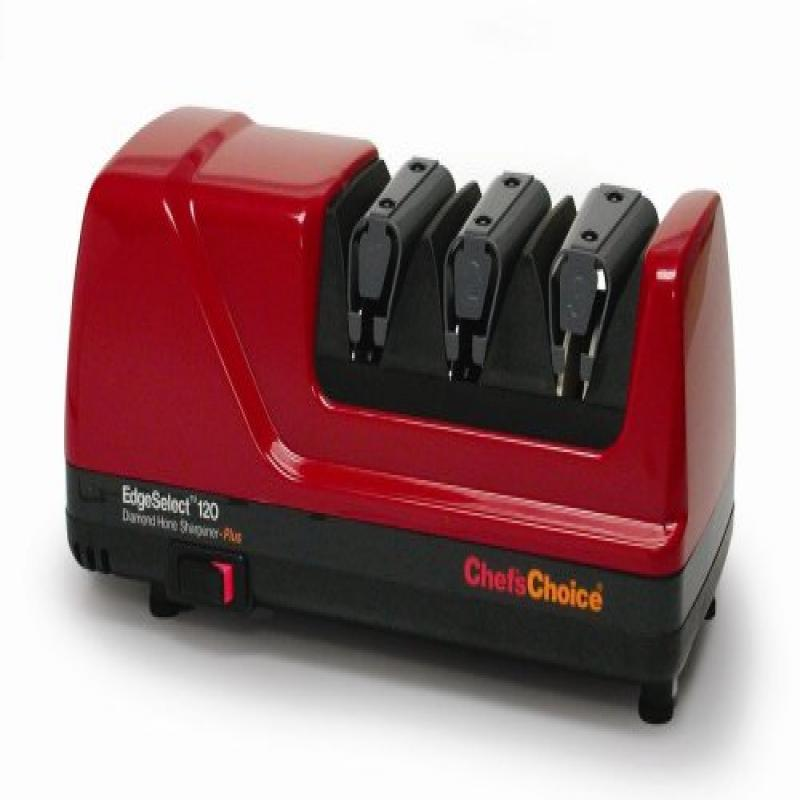 Chef's Choice 120 Diamond Hone 3-Stage Professional Knife Sharpener, Red by
