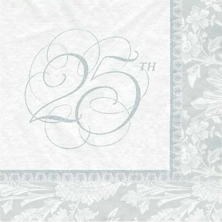 25th Anniversary Lunch Napkins 16ct, By Wedding Elegance ()