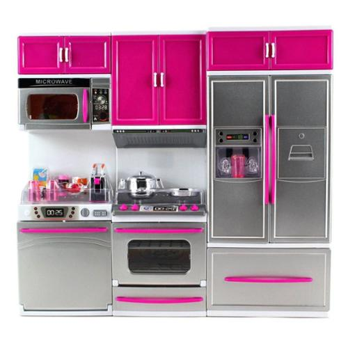 My Modern Kitchen Full Deluxe Kit Battery Operated Kitchen Playset: Refrigerator, Stove, Microwave (Christmas Gift Idea)