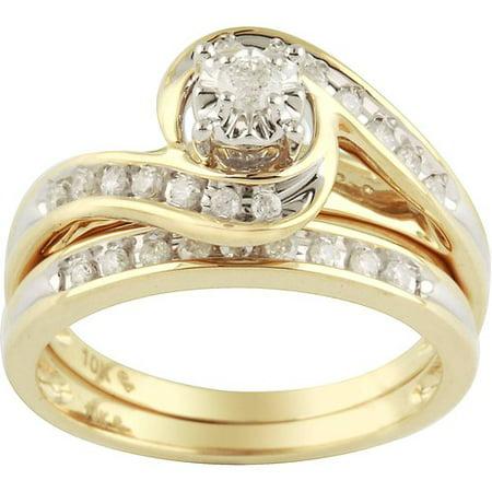 generic 1 3 carat diamond yellow gold bypass bridal ring set. Black Bedroom Furniture Sets. Home Design Ideas
