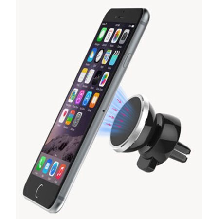 Magnetic Phone Holder Car AC Vent Clip Mount + TWO Nakedcellphone Magnet Adapters, UNIVERSAL