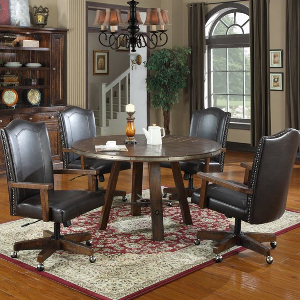 Castlegate 5 Piece Round Dining Set, Leather Dining Room Chairs With Casters
