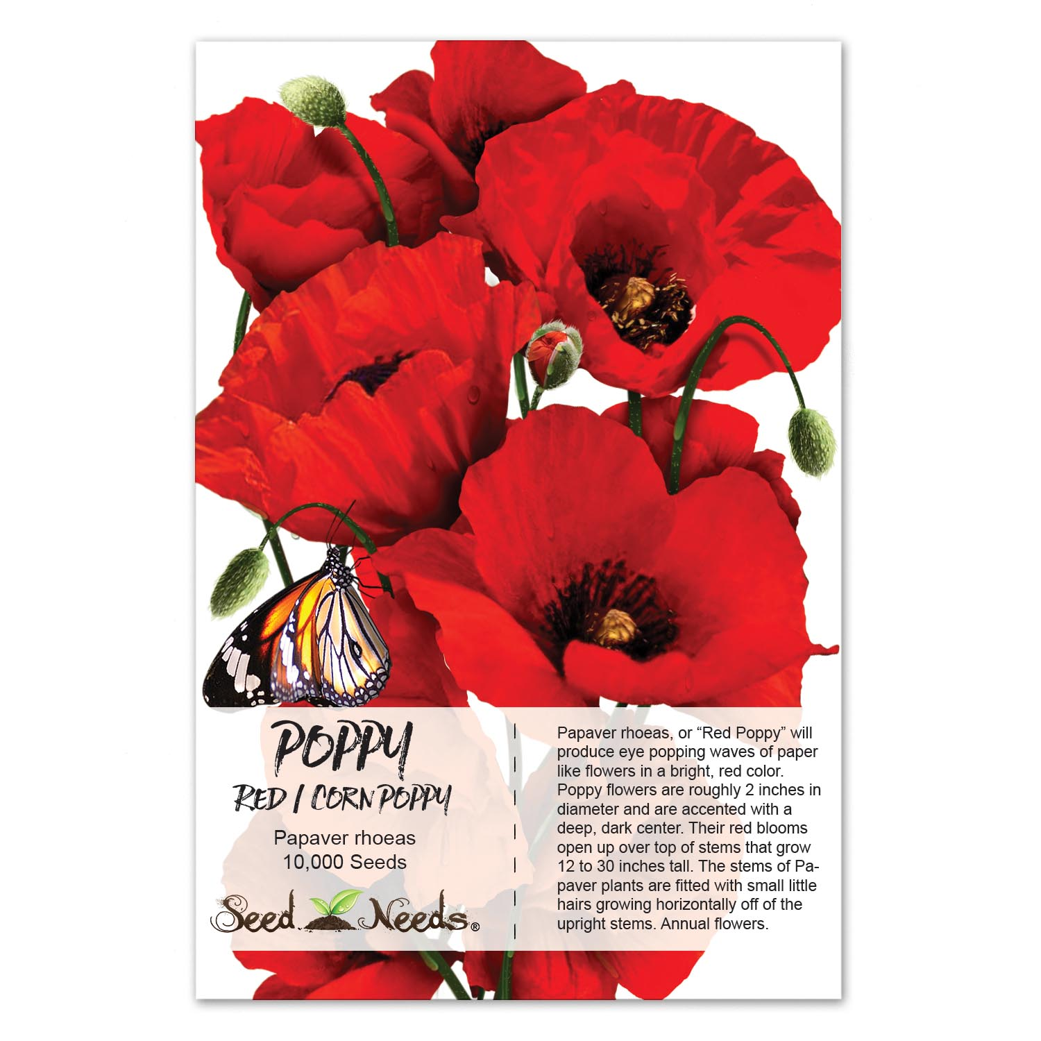 Packet Of 10000 Seeds Corn Poppy Seeds Red Poppy Papaver Rhoeas