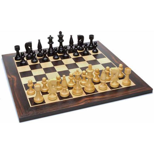 Russian Style Chess Set, Weighted Pieces and Black Stained Wood Board, 15""