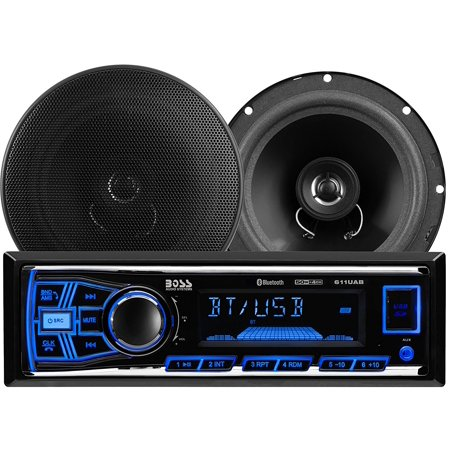 Two Care Package - 638BCK Single Din, Bluetooth, MP3/USB/SD AM/FM Car Stereo, 6.5 Inch 2 Way Full Range Speaker Package, 511UAB Receiver Plays Bluetooth / USB / SD / MP3 /.., By BOSS Audio Ship from US
