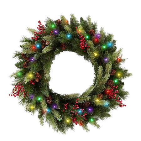 cordless led pre lit cone berry christmas wreath
