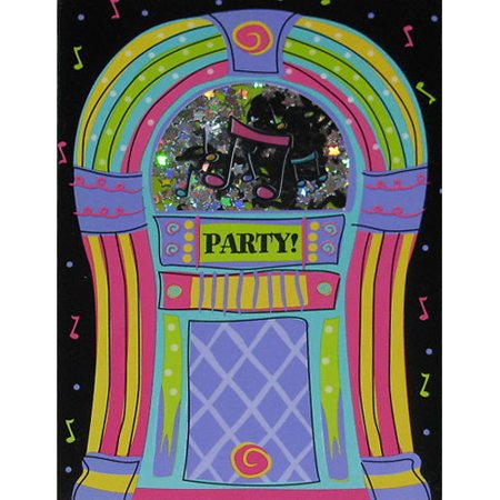 Rock and Roll 'Jukebox Rock' Novelty Invitations w/ Envelopes (8ct) (Rock And Roll Birthday Invitations)