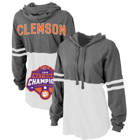 Clemson Tigers Women's College Football Playoff 2018 National Champions Pom Pom Jersey Pullover Hoodie - Charcoal/White 2007 Playoff National Treasures