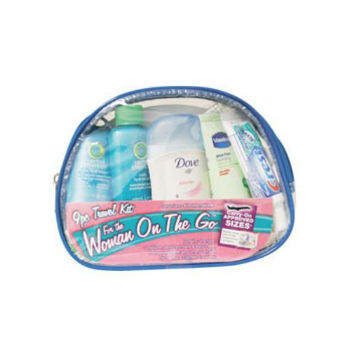 CONVENIENCE KITS INTERNATIONAL 9-Piece Women's Travel Kit with Zippered Bag 400DAS Multi-Colored