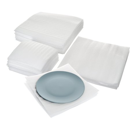 Cushion Foam Sheet and Pouch Variety Bundle Pack (60 Pack), Packing Supplies for Moving, Wrapping Dishes, Glasses, Furniture Legs, By California Basics (Coat Moving Box)
