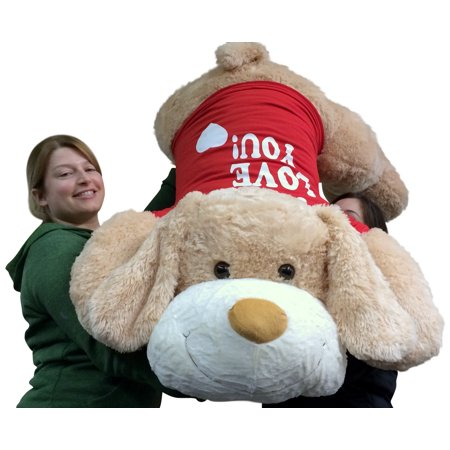 I Love You Giant Stuffed Puppy Dog 5 Foot Soft Wears I LOVE YOU T-Shirt Big Plush Cream Color (I Love Puppies)