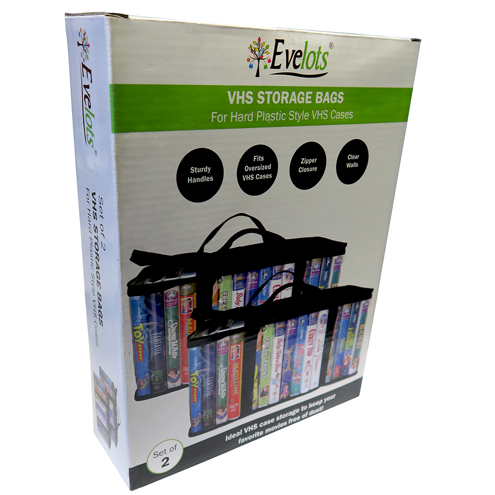 Evelots Set Of 2 VHS Storage Bags, Video Tape Organizer Storage Case    Walmart.com