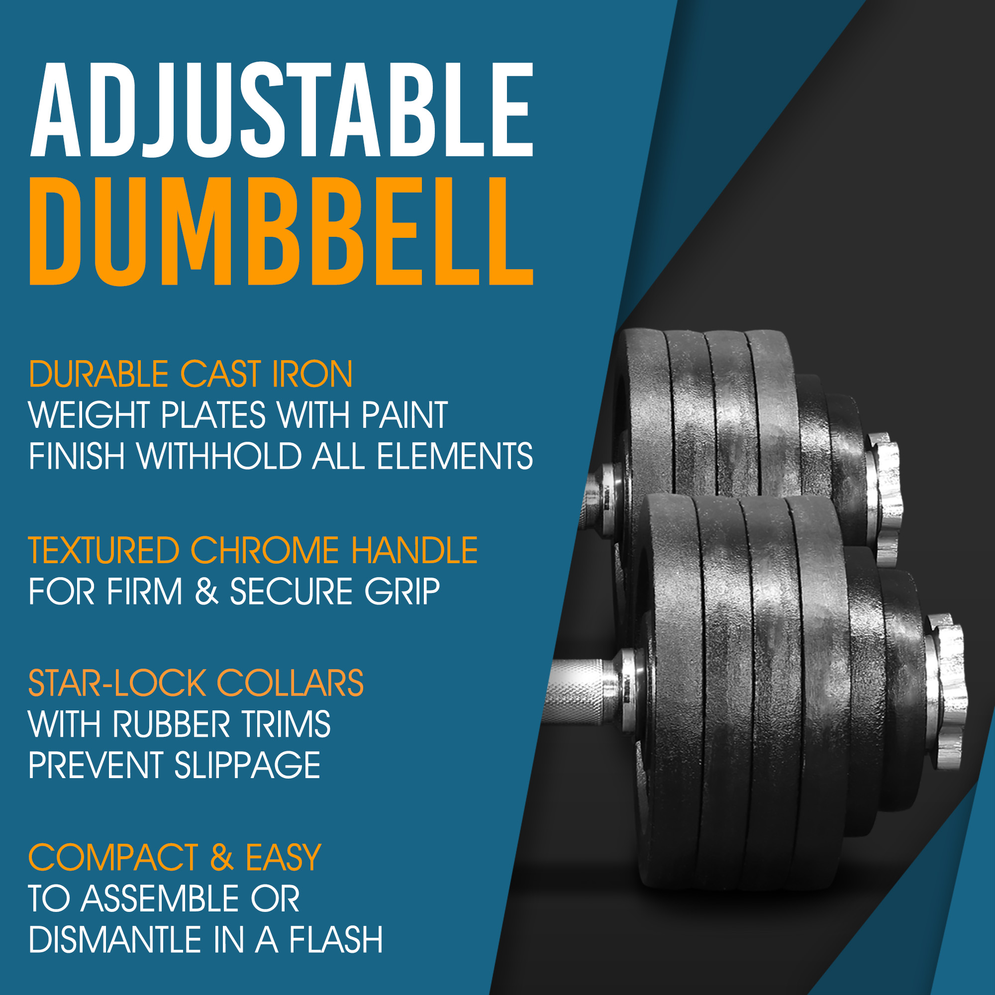 d9161841822 Yes4All 105 lb Adjustable Dumbbell Weight Set - Cast Iron Dumbbell (a Pair)  - Walmart.com