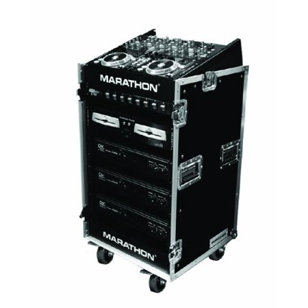 Marathon Flight Road Case MA1016WE 10u Slant Mixer Rack/16 U Vertical Rack System with Caster - Slant Mixer Cd