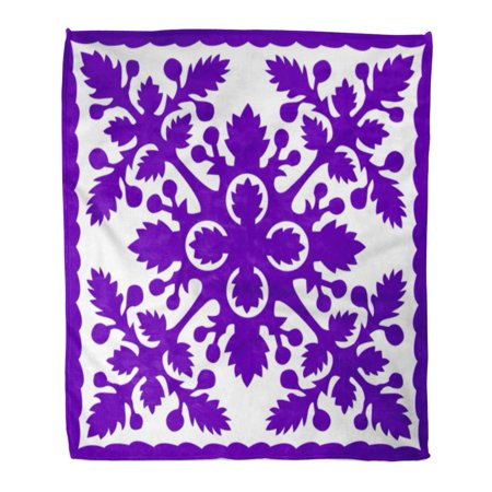 ASHLEIGH Semtomn Decorative Throw Blanket 58x80 Inches Pattern Retro Tropical Purple Hawaiian Quilt Hawaii Vintage Breadfruit Warm Flannel Soft Blanket for Couch Sofa Bed