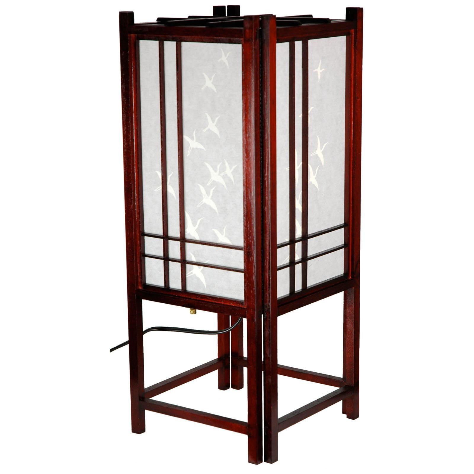 Oriental Furniture Cranes Shoji Lamp 18 Inch   Rosewood   Walmart.com