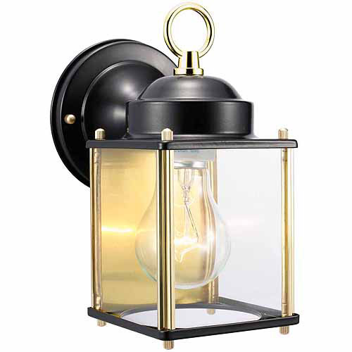 "Design House 502658 Coach Outdoor Downlight, 4.5"" x 8"", Black and Polished Brass Finish"