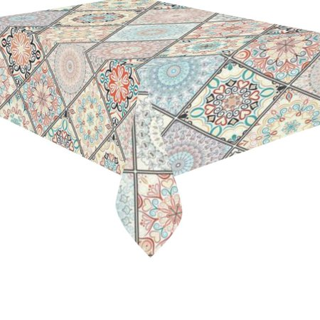 MYPOP Luxury Indian Art Mandala Paisley Pattern Cotton Linen Tablecloth Small Set 60x84 Inches - Lotus Flower Tribal Desk Table Cloths Cover for Wedding Holiday Party (Holiday Table Decoration)