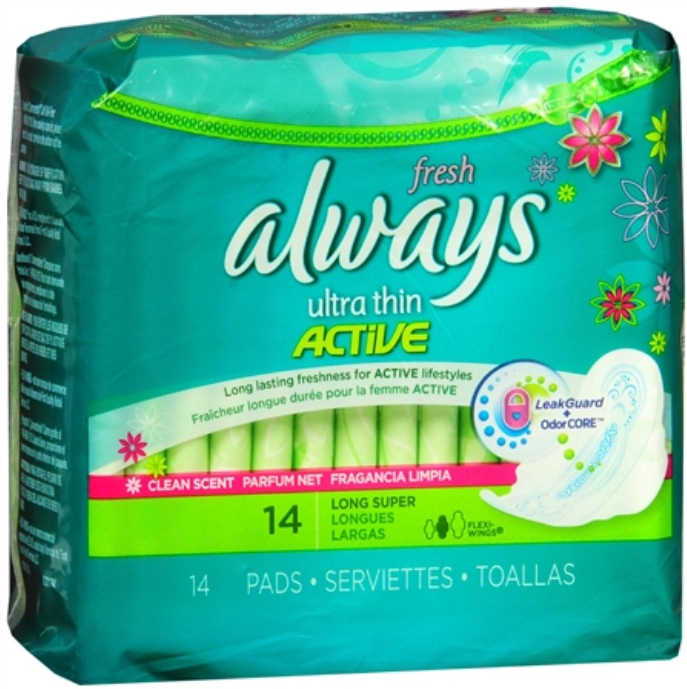 Always Fresh Ultra Thin Pads Long Super Flexi-Wings 14 Each (Pack of 4)