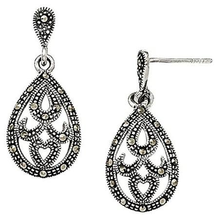 925 Sterling Silver 30 Mm Marcasite Dangle Post Stud Earrings