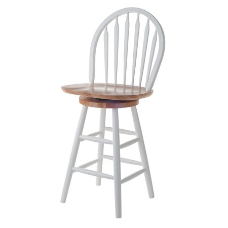 "Winsome Wood Wagner 24"" Windsor Swivel Stool, Multiple Finishes"