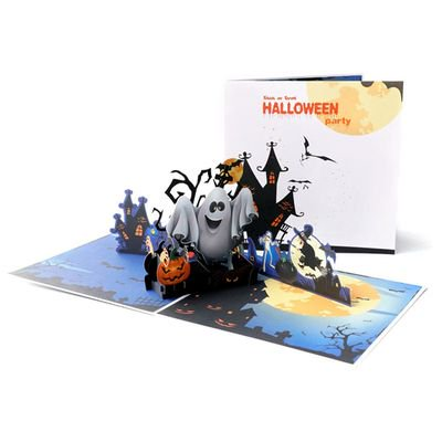 Michellem Halloween Day Cards 3D Laser Cut Paper Pop Up Greeting Card Origami Pumpkin  Ghost Postcards For DIY