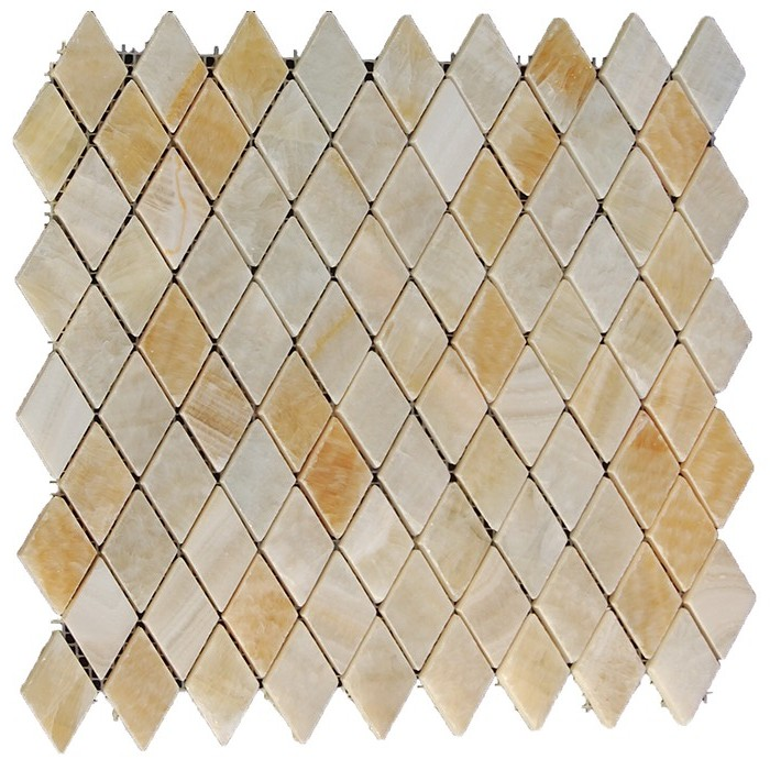 10 Sq Ft. Of  Yellow Onyx 12X12 Rhomboid Interlocking Polished