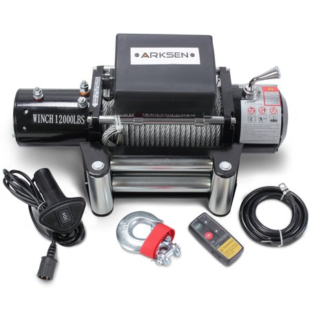 Arksen 12 Volt Electric Recovery Winch with Remote Control Towing for Truck SUV ATV Trailers 12000LBS Capacity , (Remote Control Trailer Winches)