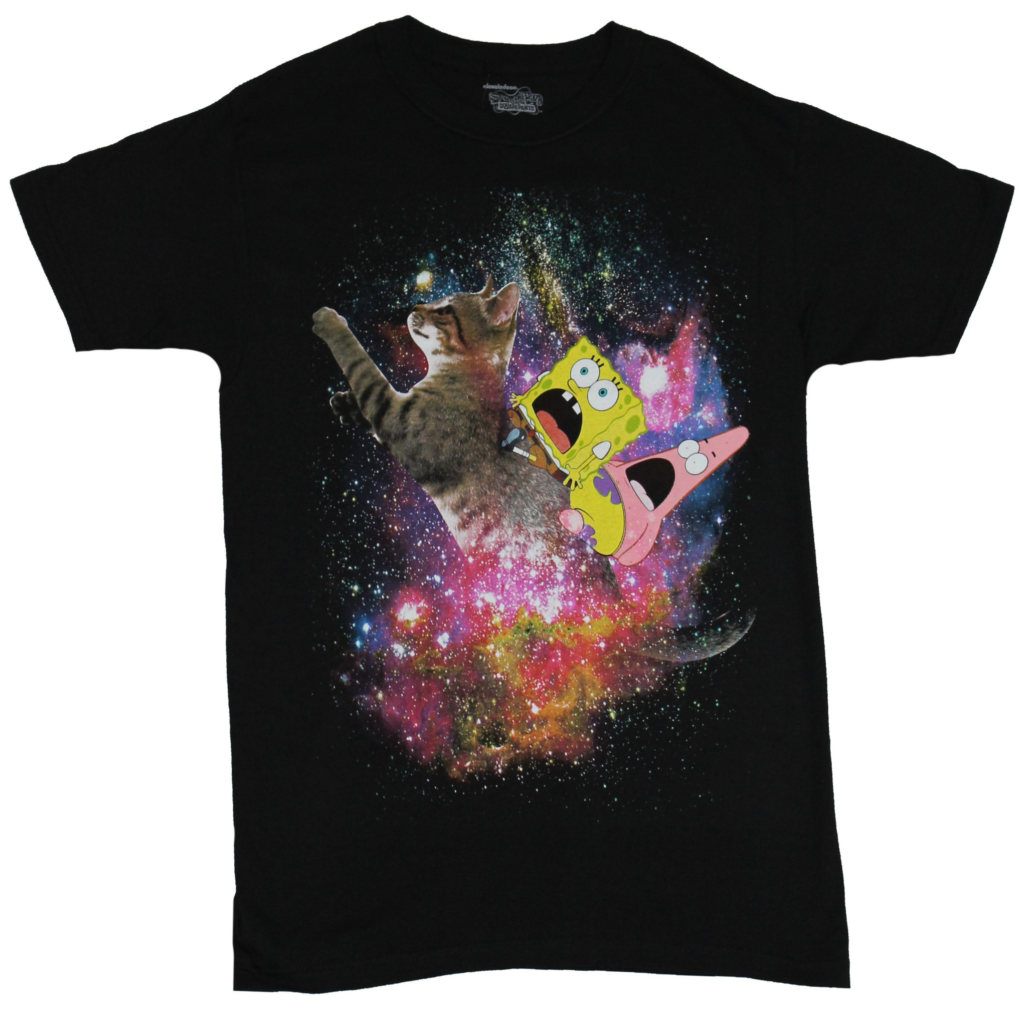 Spongebob Squarepants Mens T-shirt - Bob & Squidward Cat Rid Through Space Image