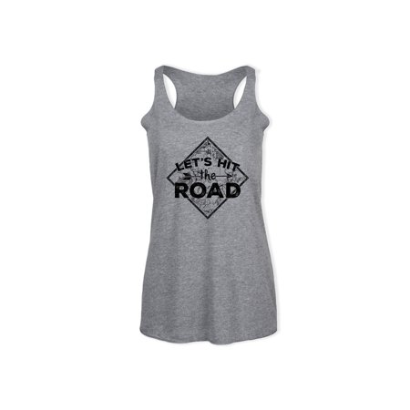 Inset Sleeveless (Let's Hit The Road, Inset Map Black  - Ladies Triblend Racerback Tank)