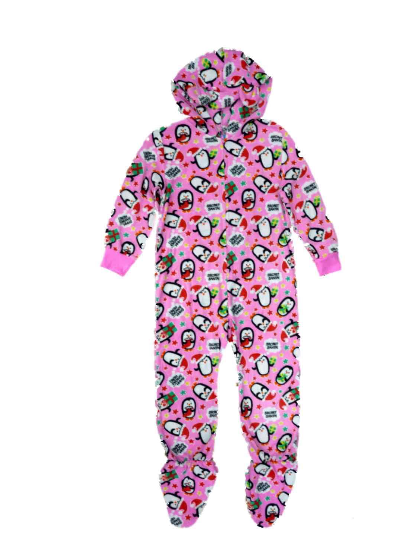Sleep On It Girls Santa Penguin Fleece Hoodie Union Suit Footed Pajamas PJ XS  - Size - X-Small 4/5